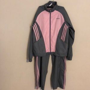 Adidas gray and pink size large tracksuit